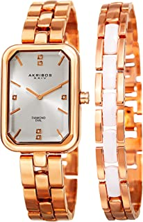 Akribos XXIV Womens Quartz Diamond Rectangular Bracelet Watch + Jewelry Bracelet - AK995