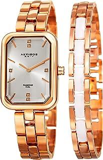 Akribos XXIV Womens Quartz Diamond Rectangular Bracelet Watch + Jewelry Bracelet - AK995