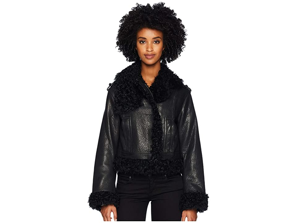 Vince Leather Shearling Moto Jacket (Black) Women