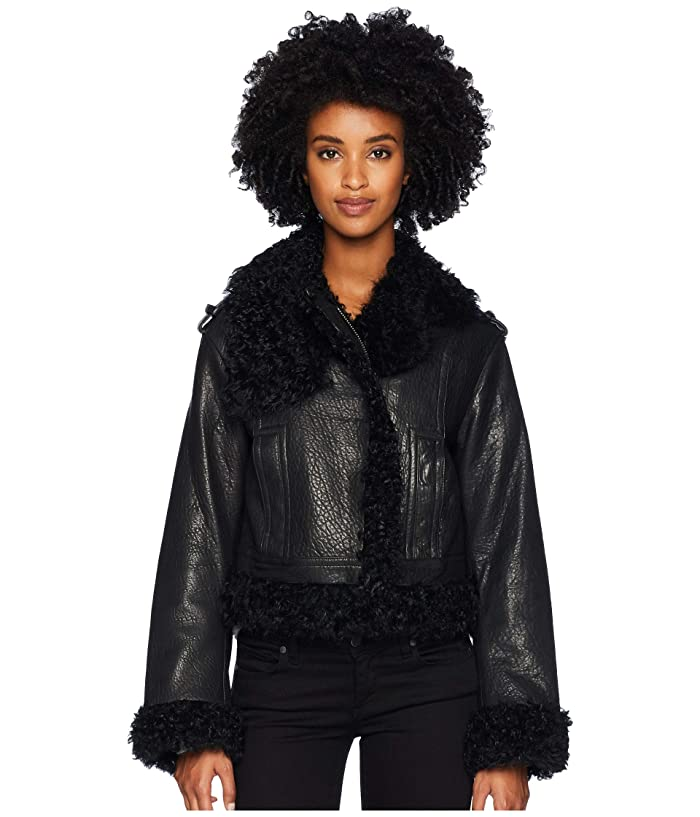 Vince Leather Shearling Moto Jacket (Black) Women