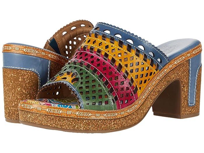 Vintage Sandals | Wedges, Espadrilles – 30s, 40s, 50s, 60s, 70s LArtiste by Spring Step Guayas Blue Multi Womens Shoes $99.99 AT vintagedancer.com