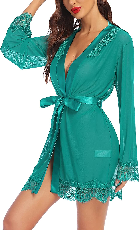 Avidlove Sexy Lingerie Robe Lace Satin Max 58% OFF Mesh Kimono Up Under blast sales Cover