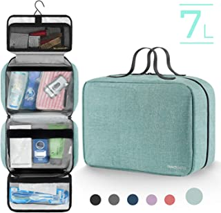 Hanging Toiletry Bag for Men and Women, Mens Travel Dopp Kit with Detachable TSA Approved Clear Pouch (Green)