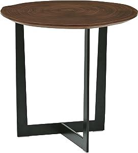 Rivet Bristol - Table de chevet à pieds en métal noirs et contours naturels, Noyer
