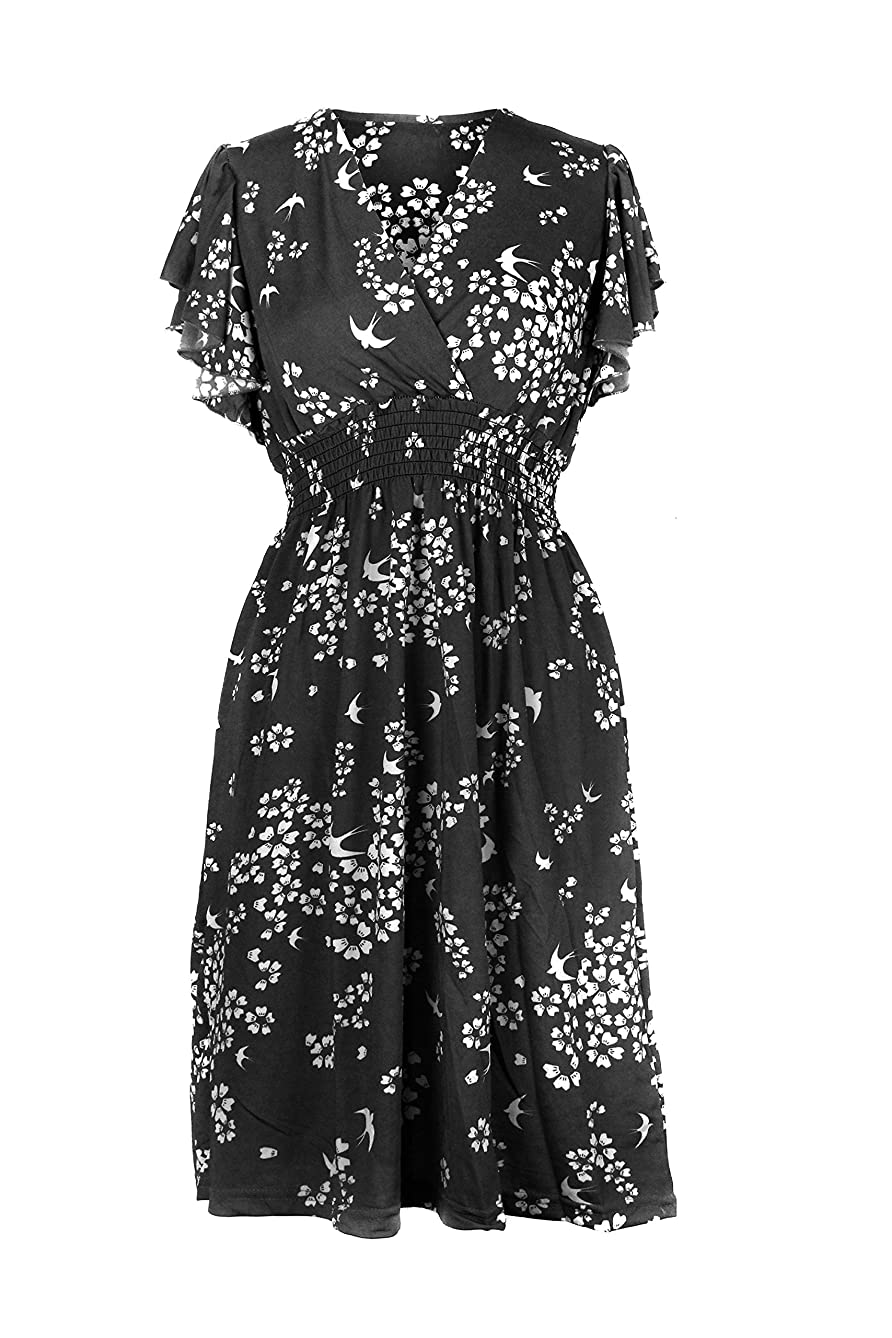 G2 Chic Women's Spring Summer Casual Printed Patterned Stretch Midi Dress