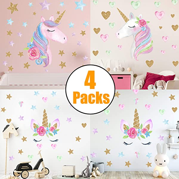 Unicorn Wall Decals 4 Pack Unicorn Wall Sticker Decor For Unicorn Party Supply Birthday Christmas Gifts For Kids Bedroom Decor Nursery Room Home Decor 4Pcs