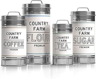 Barnyard Designs Lot de 4 bocaux décoratifs en métal galvanisé avec couvercle pour la farine, le sucre, le café, le thé, l...