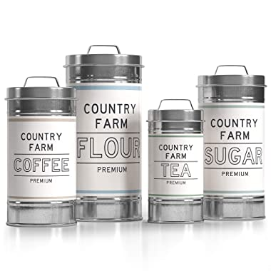 """Barnyard Designs Decorative Nesting Kitchen Canister Jars with Lids, Galvanized Metal Rustic Vintage Farmhouse Container Decor for Flour Sugar Coffee Tea Storage, Set of 4, Largest is 5.5"""" x 11.25"""""""