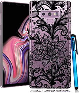Galaxy Note 9 Case, Qiyuxow Bright Slim Fit Clear Transparent Soft Rubber TPU Bumper Case with Black Lace Design for Samsung Galaxy Note 9