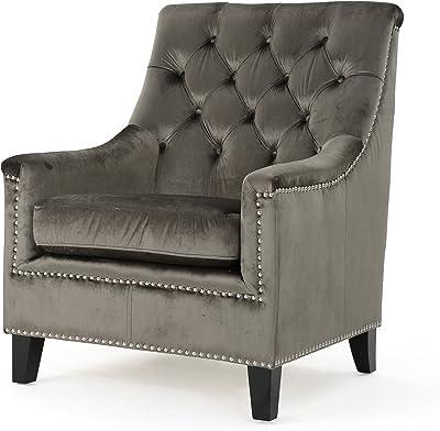 Christopher Knight Home Jaclyn Tufted Velvet Club Chair, Grey / Dark Brown