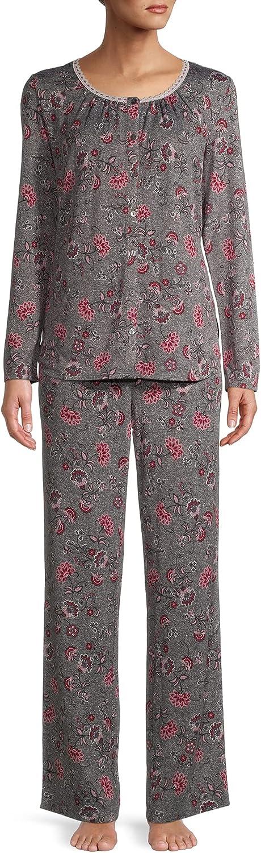 Medium Grey Floral Long Sleeve V-Neck Pajama Sleep Set