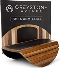 Greystone Avenue Sofa Arm Table with Non-Slip Silicone Top & Waterproof Base Prevents Spills & Stains - Couch Tray for Win...