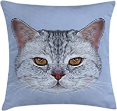Cat Throw Pillow Cushion Cover, Scottish Straight Kitty Portrait Pet Lovely Companion Hipster Animal Graphic, Decorative Square Accent Pillow Case, 18 X 18 Inches, Light Grey Baby Blue