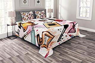 Ambesonne Fashion Bedspread, Cosmetic and Makeup Theme Pattern with Perfume Lipstick Nail Polish Brush Modern, Decorative Quilted 3 Piece Coverlet Set with 2 Pillow Shams, King Size, Coral White