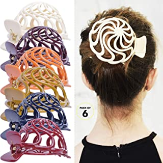 RC ROCHE ORNAMENT Womens Shell Dome Round Circle Stylish Plastic Strong Grip Hinge Side Slide Bun Maker Clips Girls Beauty...