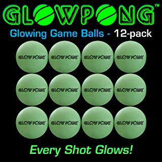 GLOWPONG Glowing Game Balls - 12-Pack - for Indoor Outdoor Nighttime Glow-in-The-Dark Beer Pong Drinking Game Fun and General Purpose Neon Glowing Ping Pong Competition