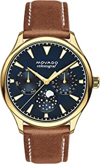 Movado Women's Heritage Yellow Gold Watch with a Printed Index Dial, Brown/Gold/Blue (Model 3650010)