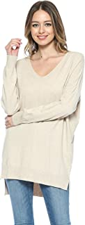Womens Oversized Soft V-Neck Pullover Sweater Top