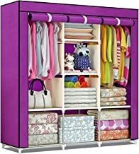 shopper 52.com Fancy & Portable Fabric Collapsible Foldable Clothes Closet Wardrobe Storage Rack Organizer Cabinet Cupboard Almirah 3 Door Wardrobe Collapsible Wardrobe (Purple) - 88130A-PR