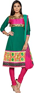 Florence Women's Cotton Straight Salwar Suit Set (SB-3400-Aug2019_Green and Pink_One Size)