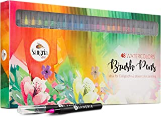 Sangria Pens – Real Brush Pens, 48 different Watercolor Paint Markers with Flexible..