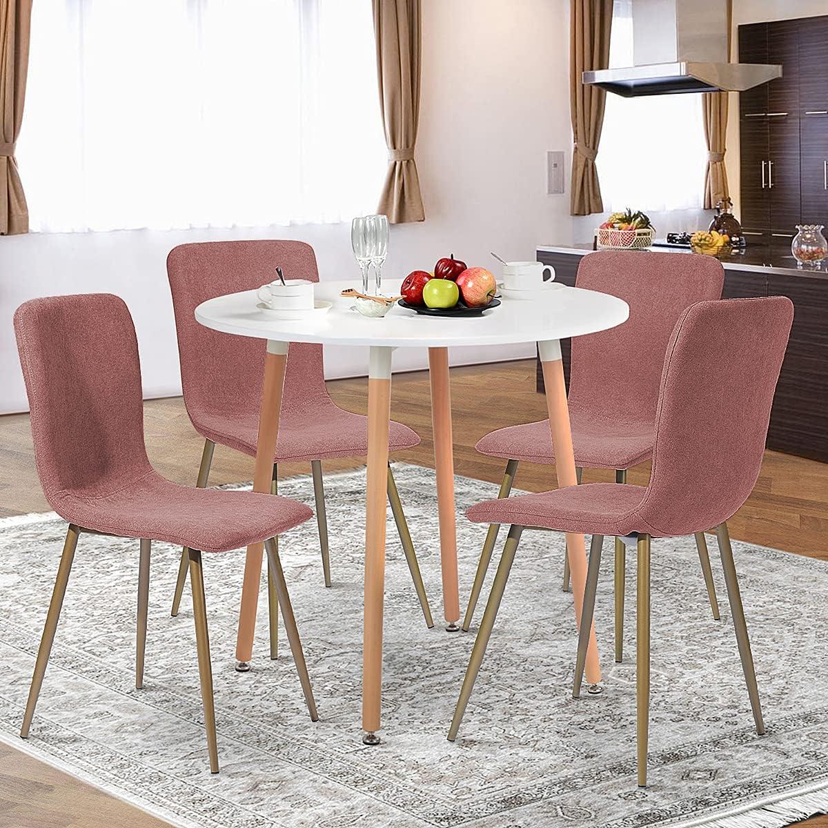 Geniqua 4 X Modern Albuquerque Mall Dining Chair Max 66% OFF Fabri Linen Coral Pink High Back