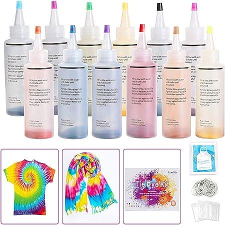 Ucradle 12 colores Tie Dye Kit, Neón Pinturas Textiles de Tela Permanentes Conjunto de Tinte Tie Tie de un Solo Paso Camisa Tela Tinte Duministros No Tóxicos Moda de Bricolaje para Niños, Adultos