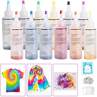 Ucradle DIY Tie Dye Kit, 12 Couleurs Kit de Teinture Tissu pour Enfants, Adultes Peinture Textile Permanente Couleurs Vive...