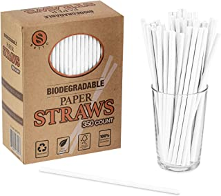 Setto 350 Pack White Biodegradable Paper Straws - Premium Eco Friendly Straws for Juices, Cocktails, Sodas, Shakes, Restaurants and Parties …