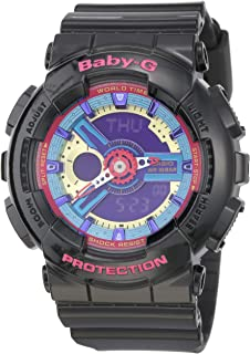 Casio Women's Baby G Quartz 100M WR Shock Resistant Resin Color: Black with Multi Color Face (Model BA-112-1ACR)