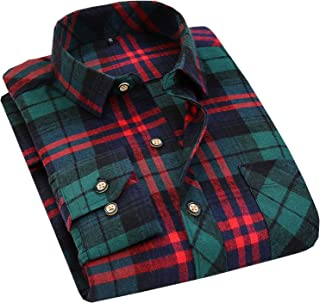 Flygo Men's Casual Collared Long Sleeve Plaid Button Down Shirt