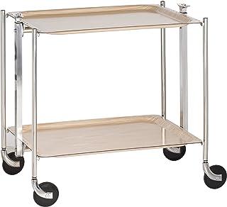 PLATEX - 500250MBBL - Textable - Bouleau - La Table Roulante - Pliante - Montants Chromés