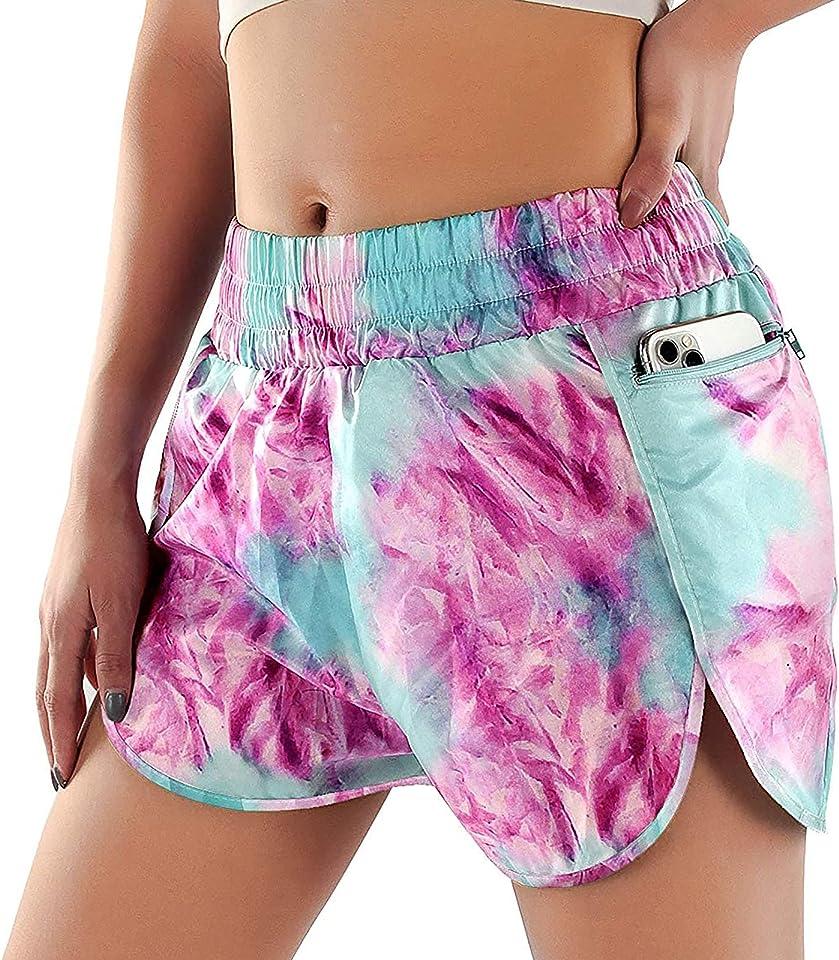 Womens Shorts Yoga Pants Bottom Sweatpants Running Shorts Sport Layer Elastic Waist Active Workout Leggings with Pockets