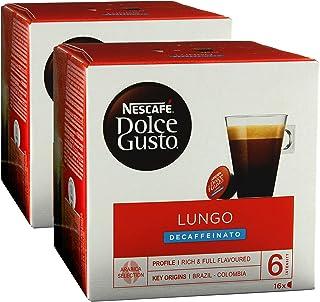 Nescafé Dolce Gusto Caffè Lungo Decaffeinato, 2 Pakken, 2 x 16 Capsules