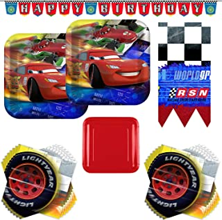 Disney Cars Lightning McQueen Party Supply Bundle - Serves 16 Guests - With Plates, Napkins, Table Cover, Happy Birthday Banner