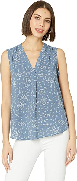 Sleeveless V-Neck Ditsy Showers Blouse