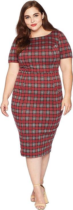 Plus Size 1960s Style Mod Wiggle Dress