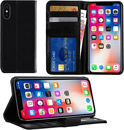 Apple iPhone XS / X Case, DN-TECHNOLOGY® BLACK iPhone XS / X Phone Cover, High Quality Leather [Flip Case][Stand Case] [Book Wallet Case] [Full Body Case] [Card Holder Case] [Shockproof Case] [Back Cover][Leather Wallet Case] With ID Holder Case For Apple iPhone X / XS (Compatible With iPhone X/10 Screen Protector)