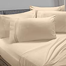 Clara Clark Premier 1800 Collection 6pc Bed Sheet Set with Extra Pillowcases - Full, Beige Cream