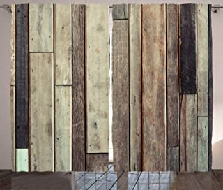 Ambesonne Wooden Curtains, Antique Planks Flooring Wall Picture American Style Western Rustic Panel Graphic Print, Living Room Bedroom Window Drapes 2 Panel Set, 108