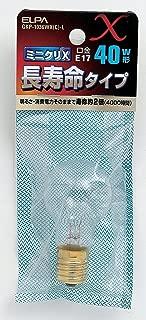ELPA ミニクリプトン球 ミニクリX E17 長寿命40W形 クリア GKP-1036WX(C)-L