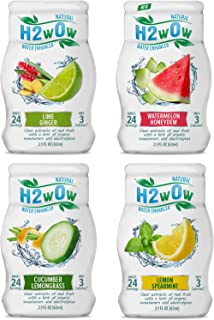 H2wOw Water Enhancer Drops ORGANIC & Natural Extracts of Real Fruit - a Hint of Organic Stevia - 2.1oz bottles Variety 4 Pack