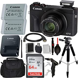 """Canon PowerShot G7 X Mark III Digital Camera with Advanced Accessory Bundle – Includes: SanDisk Ultra 64GB SDXC Memory Card, Extended Life Battery, 57"""" Professional Tripod, Carrying Case & More"""