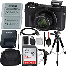 "Canon PowerShot G7 X Mark III Digital Camera with Advanced Accessory Bundle – Includes: SanDisk Ultra 64GB SDXC Memory Card, Extended Life Battery, 57"" Professional Tripod, Carrying Case & More"