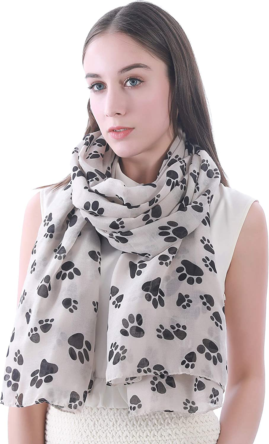 Lina & Lily Dog Cat Footprints Print Scarf