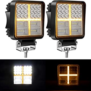 Yorkim Offroad 4x4 Led Fog Lights Amber & White Combo Cross-Shape with Flash Strobe, Offroad Led Pod Light Cube, Offroad Led Flood Lights, 4x4 Led Spot Lights For Truck Jeep SUV