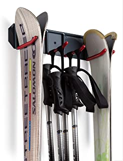 Wall Mounted Storage Rack Organizer for Skis and Poles - Heavy Duty Horizontal Wall Ski Rack Storage with Metal Frame and Padded Hooks - Indoors | Outdoors Premium Wall Storage Ski