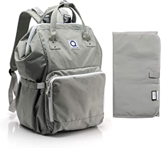 Quatre & Co Diaper Bag Backpack - Large Capacity Waterproof Baby Nappy Bag Travel Organizer for Mom or Dad - Includes Stroller Straps and Changing Pad, Gray