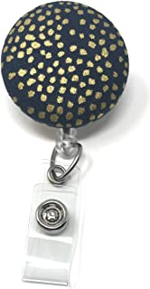 Carolina Street Dots Retractable Badge Reel, Alligator Clip, 32 Inch Nylon Cord, Medical MD RN Nurse Badge ID, Badge Holder, ID Holder, Office Employee Name Badge (Navy Gold Metallic)