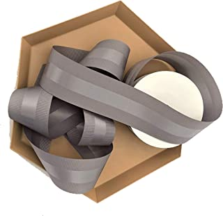 Gray Grosgrain Ribbon 1.5 inch, 30 Yards of Double Face, 1 1/2 Inch, Finely Woven Premium Fabric Ribbon with Satin Strip, Luxury Ribbon for Men's Gifts, Corporate Gifts, Elegant Gifts, Crafts